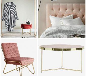 vaaleanpunainen nojatuoli ja sängynpääty